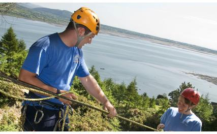 Carlingford Adventure Centre - climbing kid and instructor